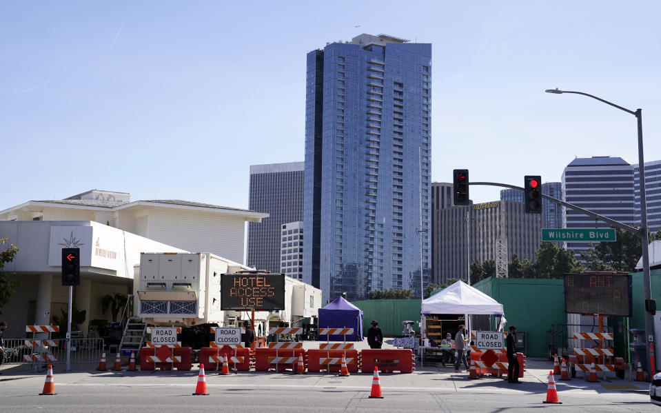 A road closure is pictured outside the 78th Golden Globe Awards at the Beverly Hilton, Sunday, Feb. 28, 2021, in Beverly Hills, Calif. (AP Photo/Chris Pizzello)