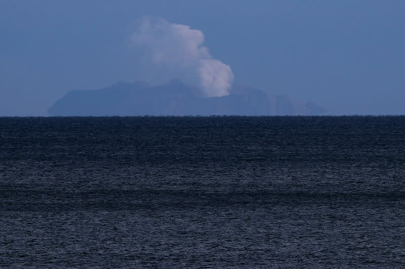 A general view of the Whakaari, also known as White Island volcano, seen from Ohope beach in Whakatane, New Zealand