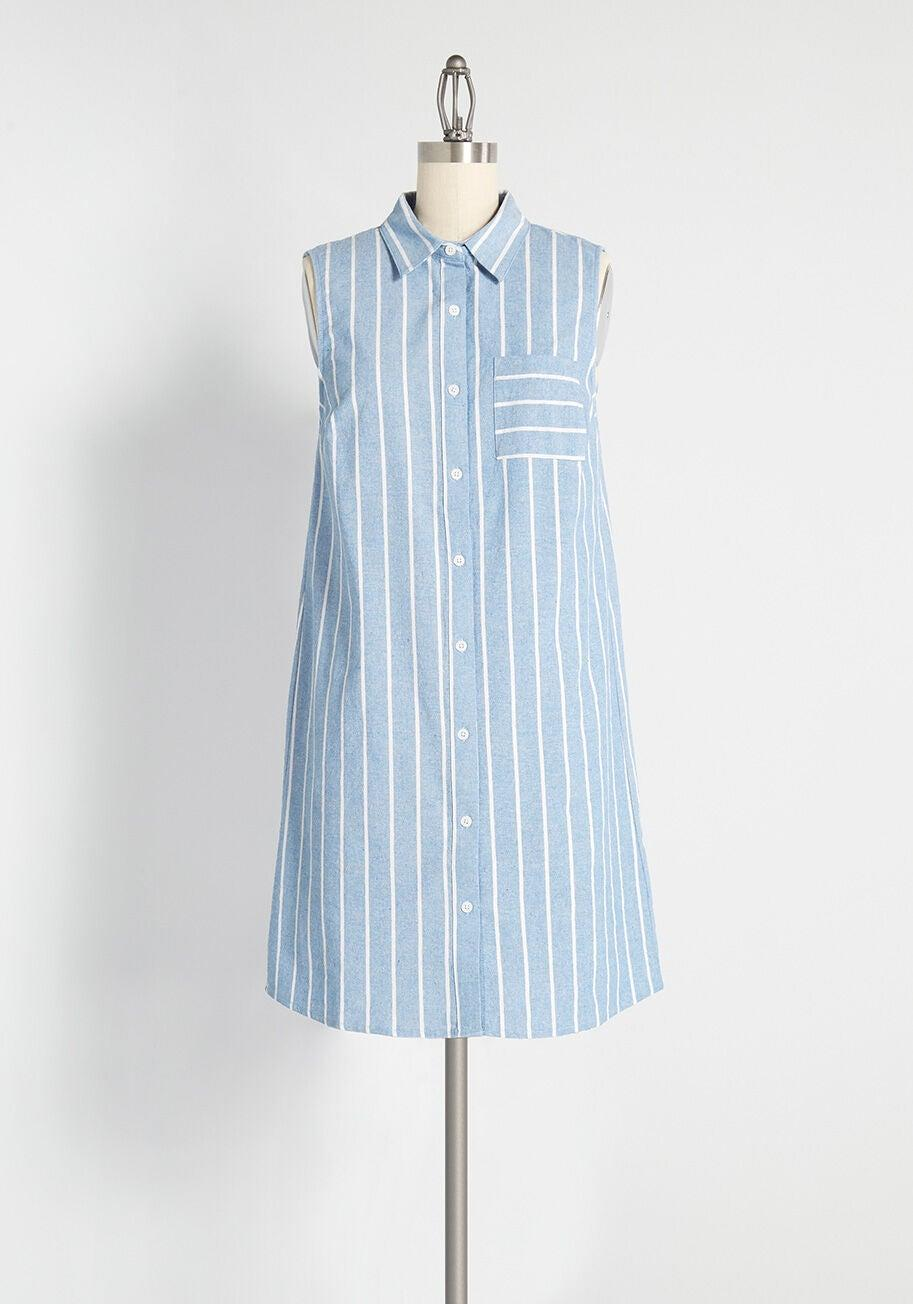 """<br> <br> <strong>ModCloth</strong> Prep Outside Striped Shirt Dress, $, available at <a href=""""https://go.skimresources.com/?id=30283X879131&url=https%3A%2F%2Fwww.modcloth.com%2Fshop%2Fdresses%2Fmodcloth-prep-outside-striped-shirt-dress-in-blue%2F170074.html"""" rel=""""nofollow noopener"""" target=""""_blank"""" data-ylk=""""slk:ModCloth"""" class=""""link rapid-noclick-resp"""">ModCloth</a>"""