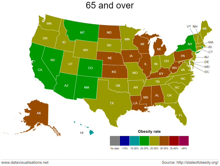 Obesity rates by state for adults 65 and over