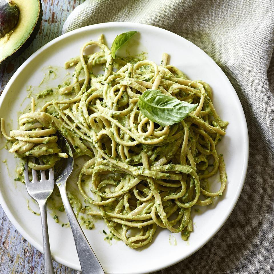 <p>Avocados add a silky consistency and cheese-like richness to this dairy-free pesto recipe. Toss it with pasta, spread it on baguette slices to make bruschetta, or use it for a healthy mayo substitute on your sandwich.</p>