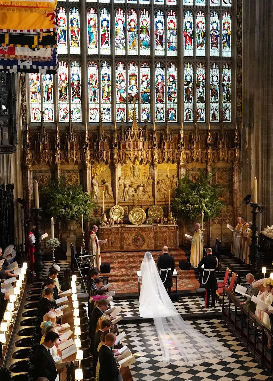 <p>The new Duke and Duchess of Sussex left on their 25-minute journey through the streets of Windsor in an Ascot landau carriage after the royal ceremony finished. (Getty) </p>