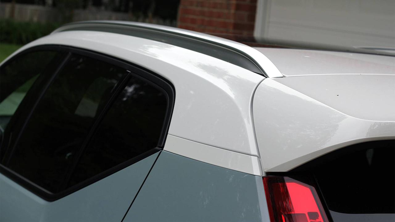 """<p>Lots of SUVs these days have a trendy design element called a """"floating roof."""" It's the not-so-subtle effect of blacking out an SUV's D-pillar that – supposedly – makes the roof look like it's floating above the body. It's dumb, and thankfully Volvo didn't use it on the XC40. Instead, it went with an old school two-tone option that lets you add a white roof to any body color for an extra $300. I love the way it looks, especially the area around the D-pillar where the roof, tail light, and body meet. Note the color even stretches down the XC40's A-pillars to the base of the windshield.</p>"""