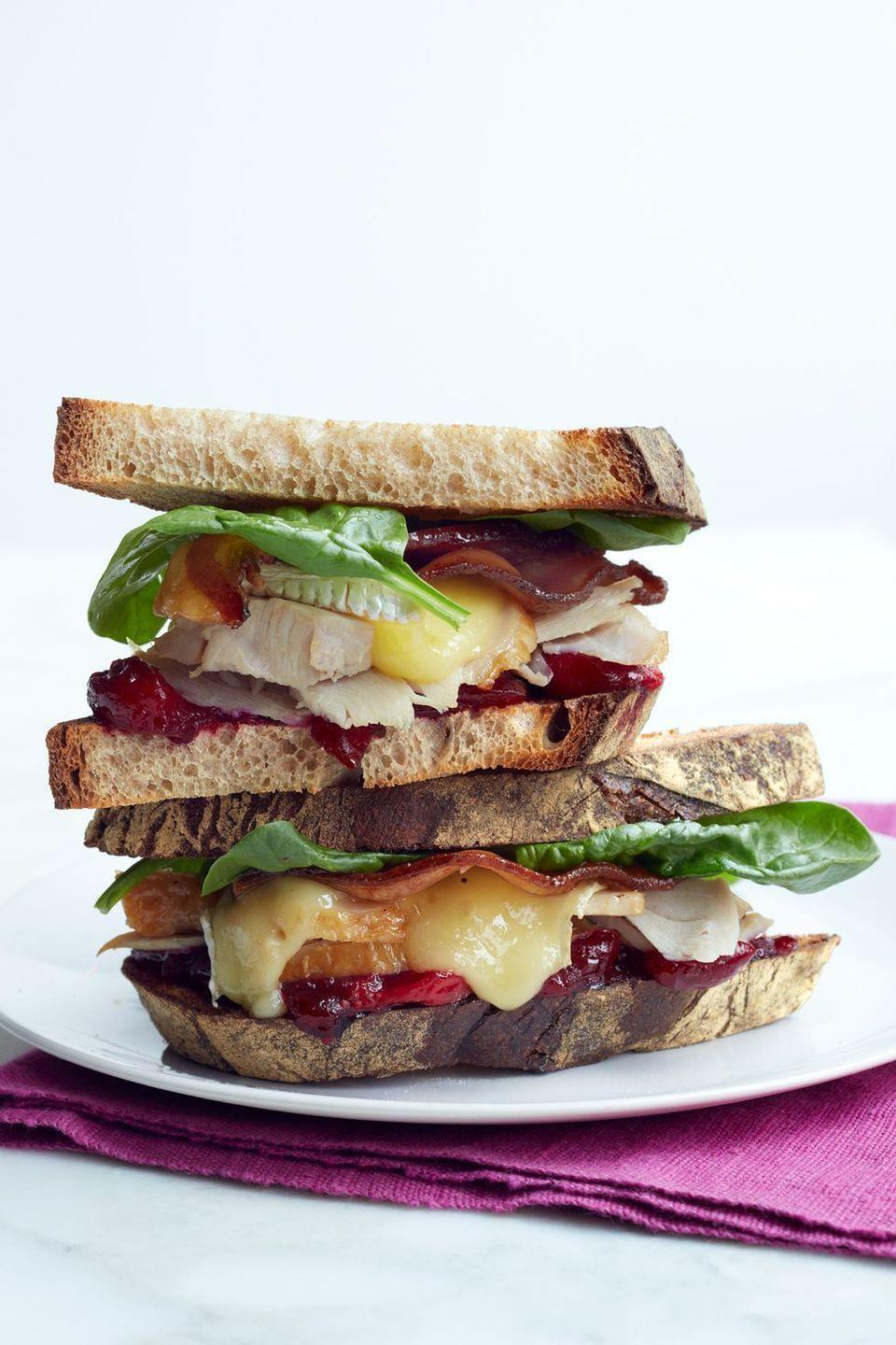 """<p>Bust out the panini press to make the ultimate post-Thanksgiving sandwich, which includes leftover turkey, cranberry sauce, and cheese. </p><p><em><a href=""""https://www.womansday.com/food-recipes/food-drinks/recipes/a12459/turkey-brie-bacon-cranberry-sandwich-recipe-wdy1113/"""" rel=""""nofollow noopener"""" target=""""_blank"""" data-ylk=""""slk:Get the recipe from Woman's Day »"""" class=""""link rapid-noclick-resp"""">Get the recipe from Woman's Day »</a></em></p>"""