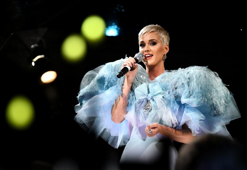 Katy Perry performs at the amfAR Gala Los Angeles 2018 on Oct. 18 in Beverly Hills. (Kevin Tachman/amfAR via Getty Images)
