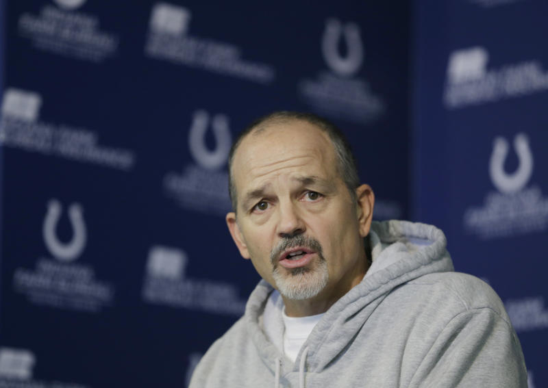 Indianapolis Colts head coach Chuck Pagano responds to a question during a news conference at the Colts complex Wednesday, Jan. 2, 2013, in Indianapolis. The Colts will play the Baltimore Ravens in a AFC Wild Card playoff game Sunday. (AP Photo/Darron Cummings)