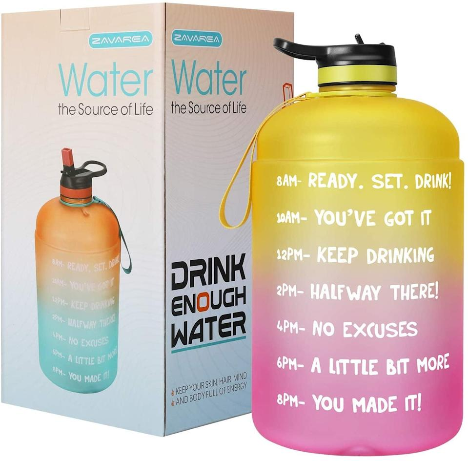 <p>Need to drink more water? The <span>Overlarge 1 Gallon/128 OZ Motivational Water Bottle</span> ($12, originally $22) will encourage you throughout the day!</p>