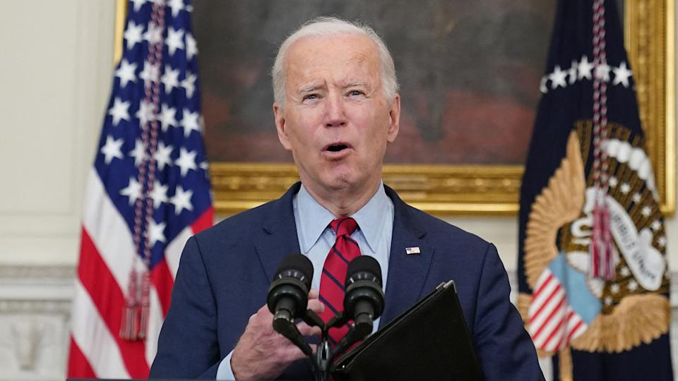 US President Joe Biden speaks about the Colorado shootings in the State Dining Room of the White House in Washington, DC, on March 23, 2021. (Mandel Ngan/AFP via Getty Images)
