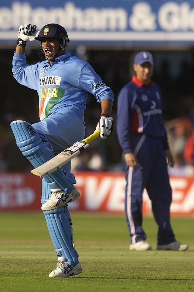 LONDON, ENGLAND - JULY 13:  Zaheer Khan of India celebrates his teams victory as England captain Nasser Hussain looks on during the match between England and India in the NatWest One Day Series Final at Lord's in London, England on July 13, 2002. (Photo by Tom Shaw/Getty Images)
