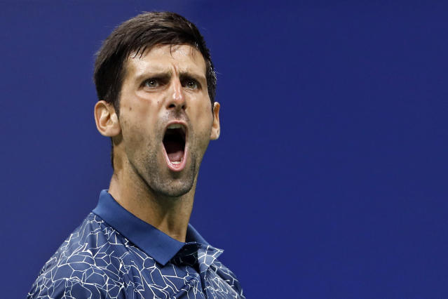 Novak Djokovic, of Serbia, celebrates a point against Richard Gasquet, of France, during the third round of the U.S. Open tennis tournament Saturday, Sept. 1, 2018, in New York. (AP Photo/Adam Hunger)