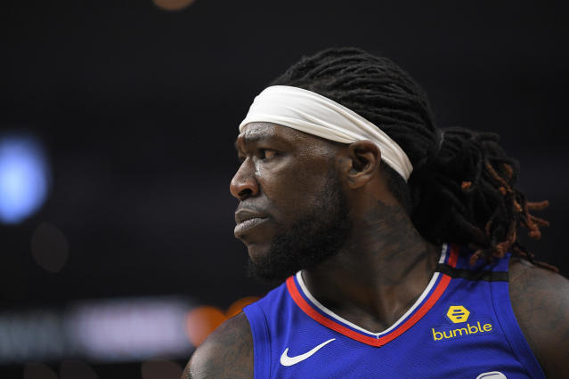 "<a class=""link rapid-noclick-resp"" href=""/nba/players/5492/"" data-ylk=""slk:Montrezl Harrell"">Montrezl Harrell</a> left the NBA bubble two weeks ago to tend to a family matter. (AP Photo/Mark J. Terrill)"