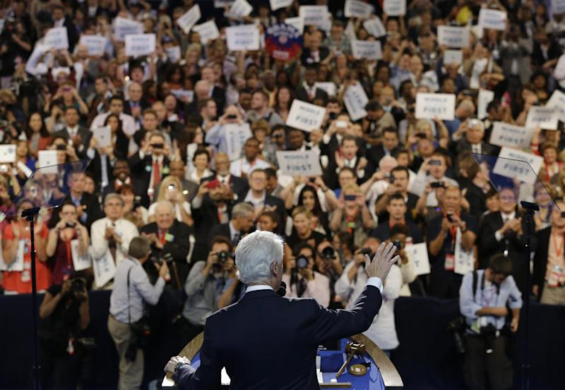Former President Bill Clinton speaks to delegates at the Democratic National Convention in Charlotte, N.C., on Wednesday, Sept. 5, 2012. (AP Photo/Charlie Neibergall)