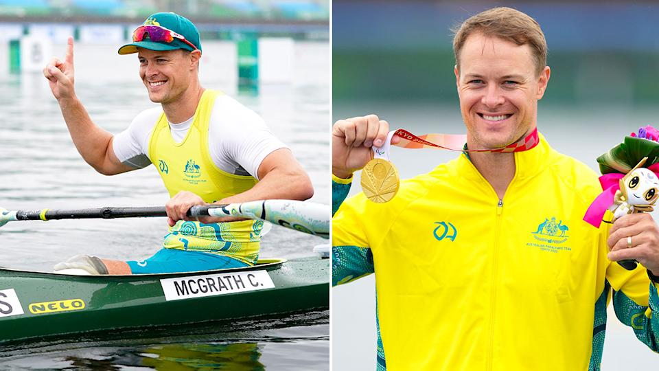 Seen here, Curtis McGrath celebrates after winning gold in the men's kayak single 200m KL2 final at the Tokyo Paralympics.