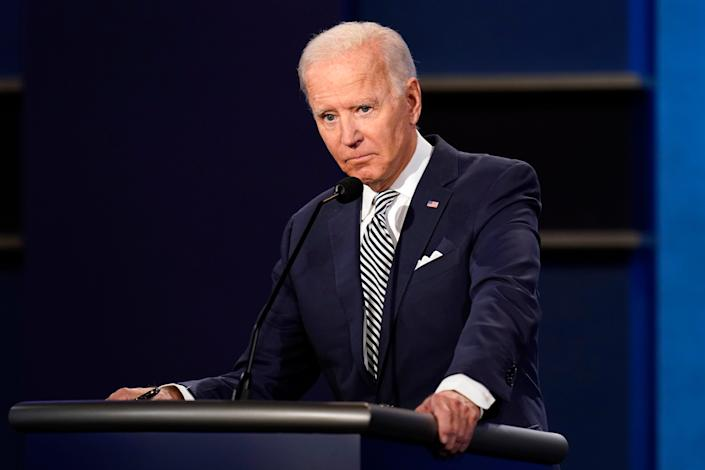 Democratic presidential nominee Joe Biden at the first presidential debate on Sept. 29, 2020, in Cleveland.