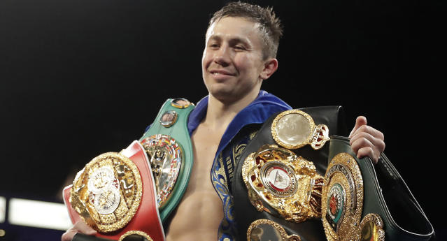 Gennady Golovkin, shown here with his belts after knocking out Vanes Martirosyan in May, has a lot on the line in his rematch vs. Canelo Alvarez on Saturday in Las Vegas. (AP Photo)
