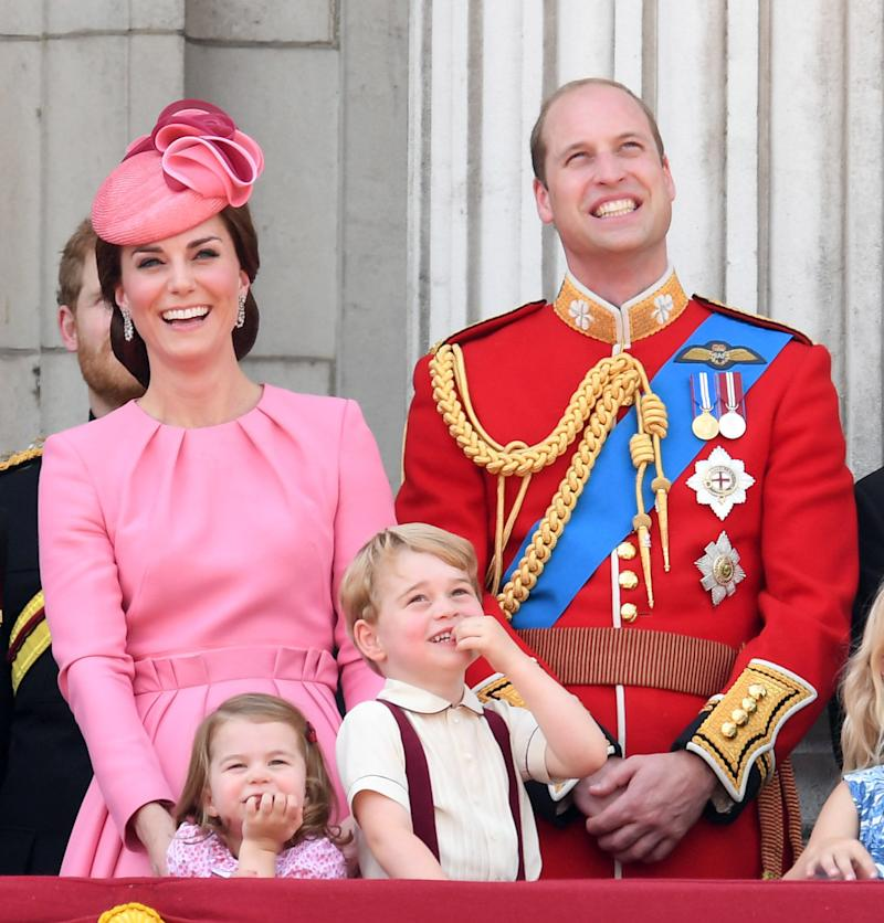 William, Kate, George and Charlotte enjoy the festivities at the 2017 Trooping the Colour parade, June 17, 2017.