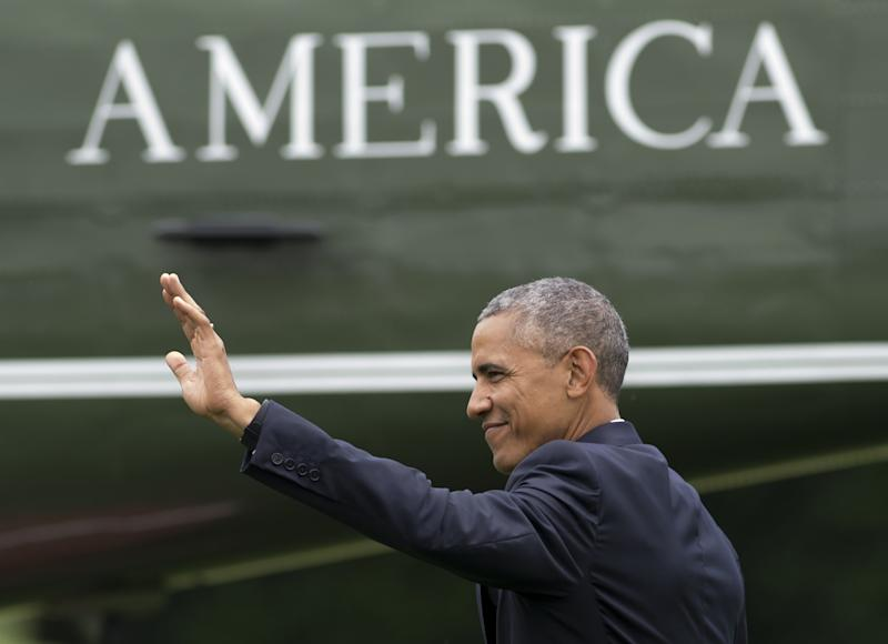 President Barack Obama waves as he walks to Marine One prior to departure from the South Lawn of the White House in Washington, DC in June. (Saul Loeb/AFP/Getty Images)