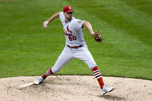 St. Louis Cardinals starting pitcher Adam Wainwright throws during the third inning of the first game of a baseball doubleheader Wednesday, Sept. 16, 2020, in Milwaukee. (AP Photo/Morry Gash)