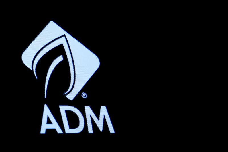 FILE PHOTO: The Archer Daniels Midland Co (ADM) logo is displayed on a screen on the floor of the NYSE in New York