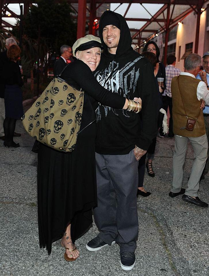"""A pregnant Pink and hubby Carey Hart got one of their final grown-up dates in before the arrival of their new addition next month. Stefanie Keenan/<a href=""""http://www.wireimage.com"""" target=""""new"""">WireImage.com</a> - April 14, 2011"""