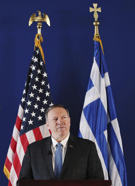 U.S. Secretary of State Mike Pompeo delivers a speech at the Stavros Niarchos Foundation Cultural Center in Athens, Saturday, Oct. 5, 2019. Pompeo is in Greece on the last leg of a four-nation European tour that has been overshadowed by the impeachment inquiry in Washington. Pompeo has sought to avoid the drama back home by focusing on matters directly related to his trip. (Costas Baltas/Pool via AP)