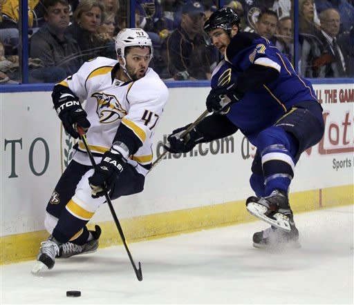 Nashville Predators' Alexander Radulov, of Russia, handles the puck as St. Louis Blues' Alex Pietrangelo, right, defends during the first period of an NHL hockey game Tuesday, March 27, 2012, in St Louis. (AP Photo/Jeff Roberson)