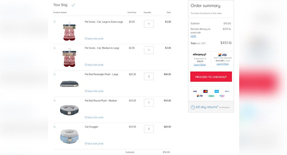 A Kmart order for $76 with postage charged at $375.16