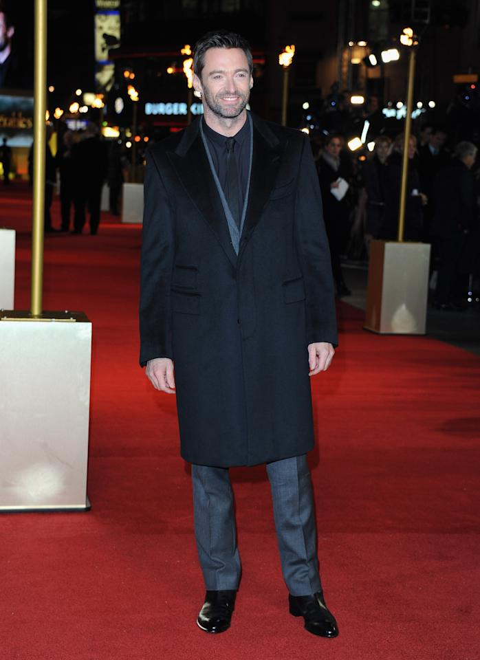 """LONDON, ENGLAND - DECEMBER 05:  Actor Hugh Jackman attends the """"Les Miserables"""" World Premiere at the Odeon Leicester Square on December 5, 2012 in London, England.  (Photo by Stuart Wilson/Getty Images)"""