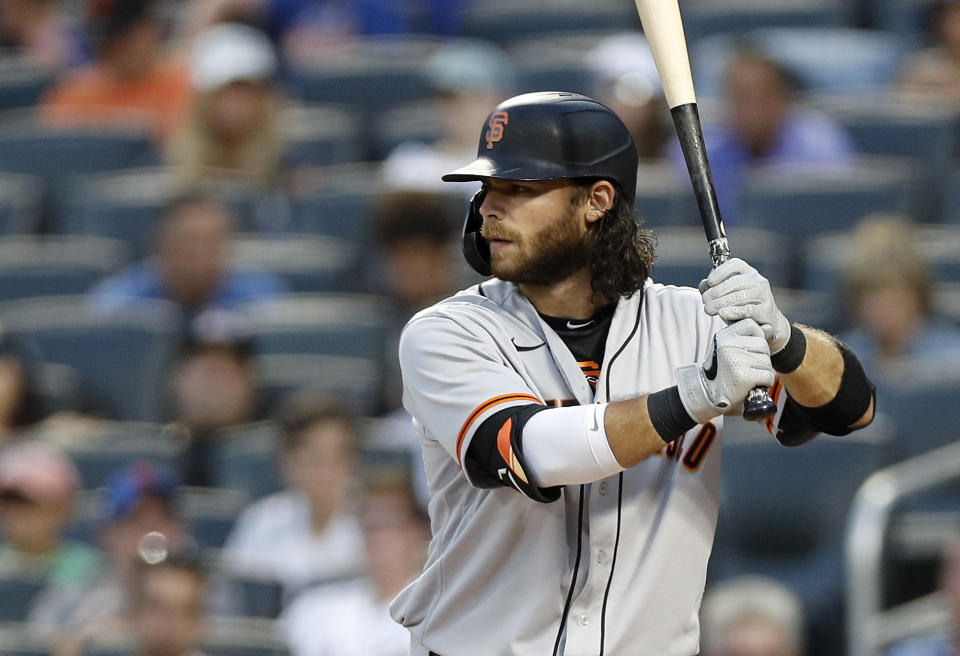 NEW YORK, NEW YORK - AUGUST 24:  Brandon Crawford #35 of the San Francisco Giants in action against the New York Mets at Citi Field on August 24, 2021 in New York City. The Giants defeated the Mets 8-0. (Photo by Jim McIsaac/Getty Images)