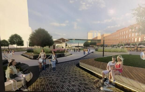 An artist's conception of what the new Loyalist Plaza might look like when completed.  The city did caution people that the budget for the project may not allow for all of the proposed amenities to be constructed. (Megan Macalpine/CBC - image credit)