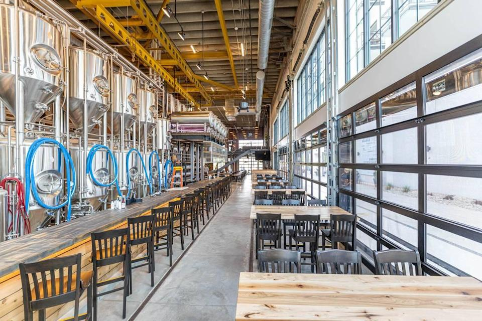 Trolley Barn shows off its stainless steel fermenters.