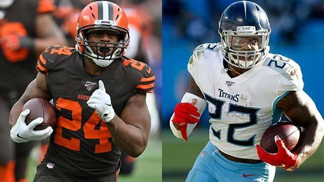 """The """"Good Morning Football"""" crew debates which running back will capture the 2019 NFL rushing title over the season's final three weeks: Nick Chubb of the Cleveland Browns, Christian McCaffrey of the Carolina Panthers, Ezekiel Elliott of the Dallas Cowboys, Derrick Henry of the Tennessee Titans or Dalvin Cook of the Minnesota Vikings."""