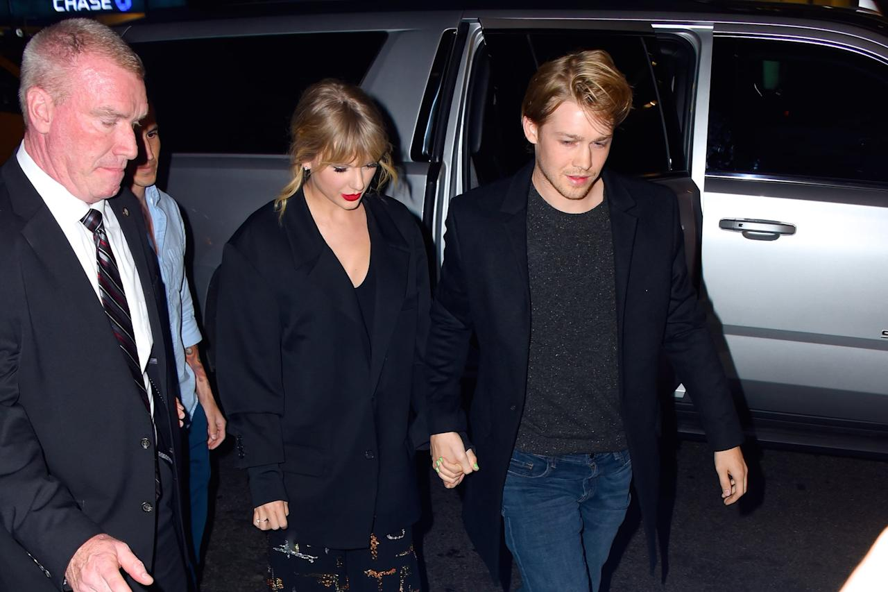 """<p>For the first time, Swift gives a glimpse into <a href=""""https://www.popsugar.com/celebrity/Taylor-Swift-Joe-Alwyn-Relationship-Timeline-44255723"""" class=""""ga-track"""" data-ga-category=""""Related"""" data-ga-label=""""http://www.popsugar.com/celebrity/Taylor-Swift-Joe-Alwyn-Relationship-Timeline-44255723"""" data-ga-action=""""In-Line Links"""">her relationship with boyfriend Joe Alwyn</a>. """"I was falling in love with someone who had a really wonderful, normal, balanced kind of life,"""" she says. While we don't get a major look at the duo - they share a sweet moment after one of her <strong>Reputation</strong> stadium tour concerts where she runs into his arms - in between clips of private moments of the two at home, Swift reveals they decided they wanted their relationship to be private. """"We were happy. It was happiness without anyone else's input.""""</p>"""