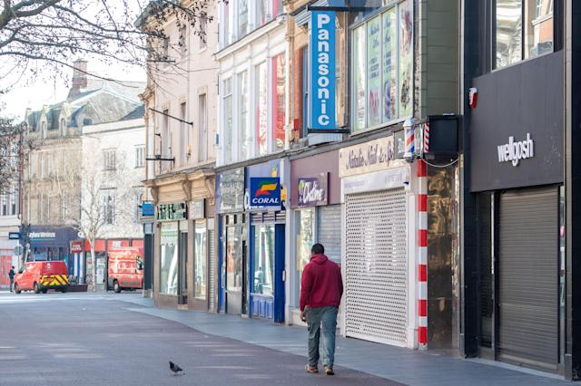 A deserted high street in Leicester as the government put the UK into lockdown, ordering non-essential shops to close. (PA)