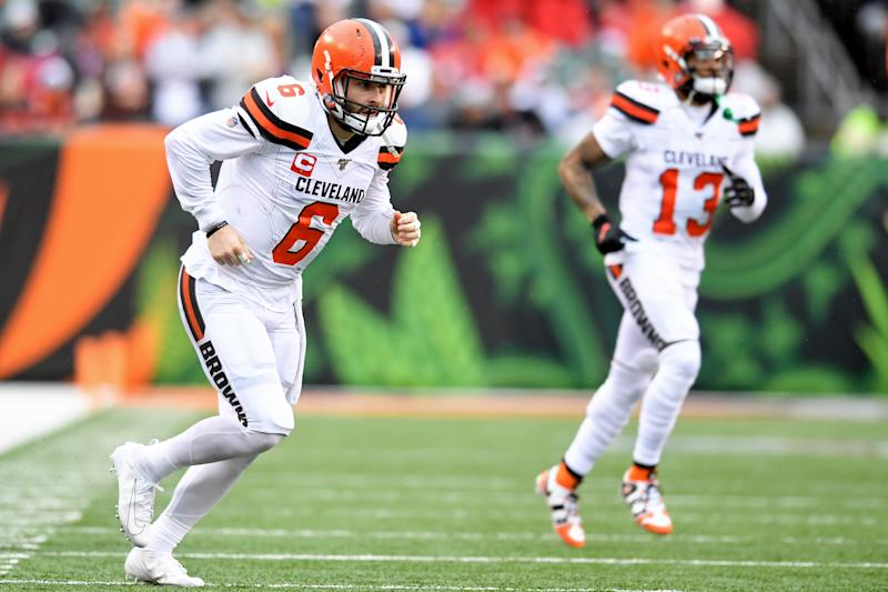 Quarterback Baker Mayfield #6 and wide receiver Odell Beckham Jr. #13 of the Cleveland Browns