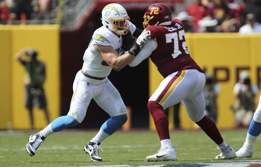 Los Angeles Chargers defensive end Joey Bosa (97) runs during an NFL football game against the Washington Football Team, Sunday, Sept. 12, 2021 in Landover, Md. (AP Photo/Daniel Kucin Jr.)