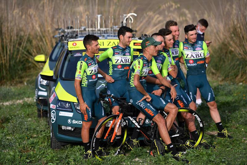 PALERMO ITALY OCTOBER 01 Simone Bevilacqua of Italy Marco Frapporti of Italy Lorenzo Rota of Italy Matteo Spreafico of Italy Etienne Van Empel of The Netherlands Giovanni Visconti of Italy Luca Wackermann of Italy Edoardo Zardini of Italy and Team Vini Zabu KTM during the 103rd Giro dItalia 2020 Team Presentation in Archaeological Park of Segesta in Palermo City Temple of Segesta girodiitalia Giro on October 01 2020 in Palermo Italy Photo by Tim de WaeleGetty Images