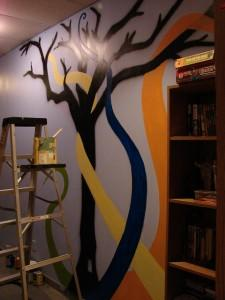 Multi-coloured tree mural