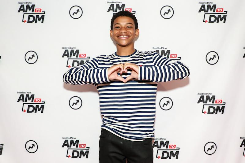 "NEW YORK, NY - MARCH 10: (EXCLUSIVE COVERAGE) Lonnie Chavis visits BuzzFeed's ""AM To DM"" on March 10, 2020 in New York City. (Photo by Jason Mendez/Getty Images)"