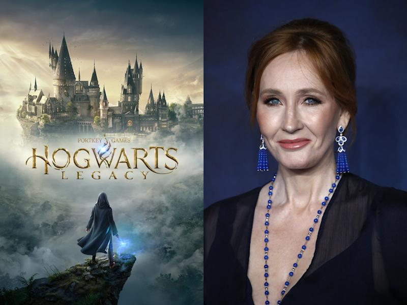 'Hogwarts Legacy' (left) is based on the bestselling Harry Potter series by JK Rowling (right) (Portkey Games/Getty)