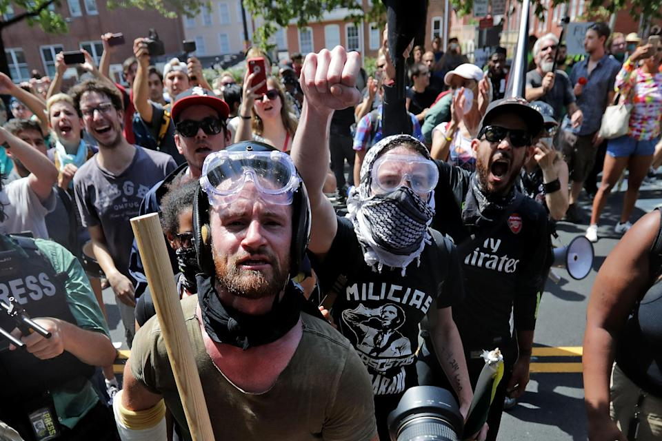 Antifascist counterprotesters outside Emancipation Park in Charlottesville, Va., Aug. 12, 2017. (Photo: Chip Somodevilla/Getty Images)