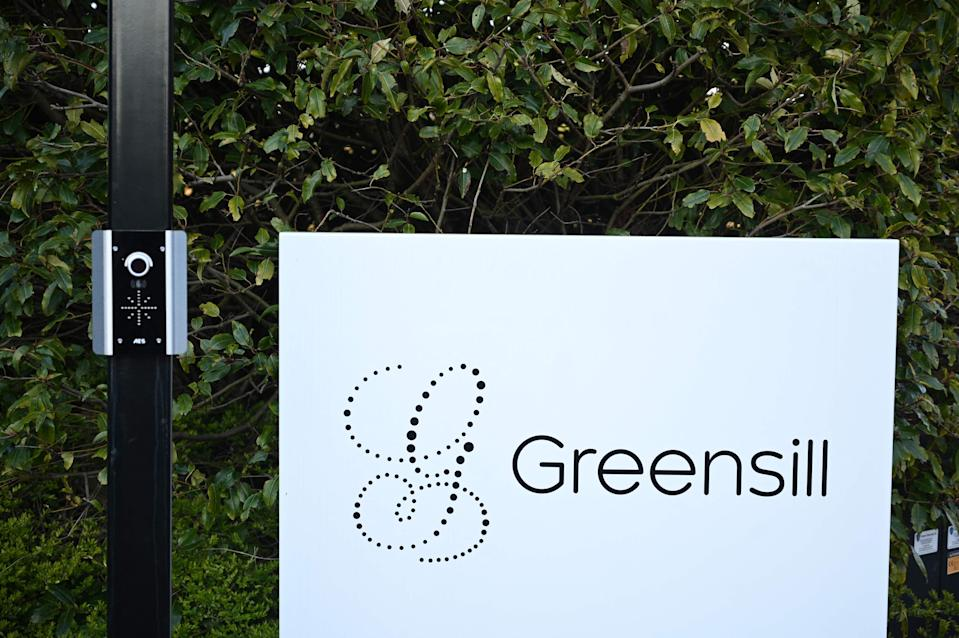 Signage is seen outside the offices of collapsed finance firm Greensill near Warrington (AFP via Getty Images)
