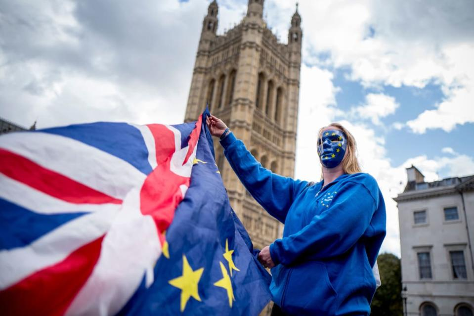"<div class=""inline-image__caption""><p>A Pro-European Union protester holds Union and European flags in front of the Victoria Tower at The Palace of Westminster in central London on September 13, 2017, ahead of a rally to warn about the terms of Brexit, by EU nationals in Britain and UK nationals in Europe.</p></div> <div class=""inline-image__credit"">Tolga Akmen/Getty</div>"