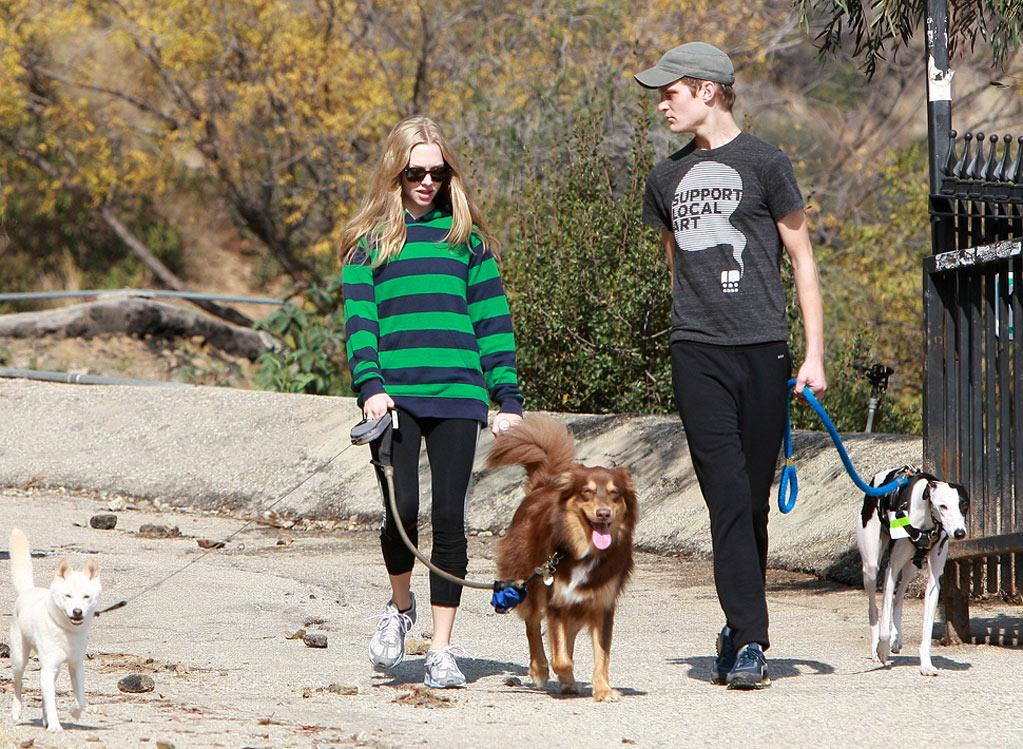 Amanda Seyfried and a pal had a dog-day afternoon on Monday when the duo took their three pet pooches (one's hers, two are his) for a hike in Hollywood Hills. (11/21/2011)