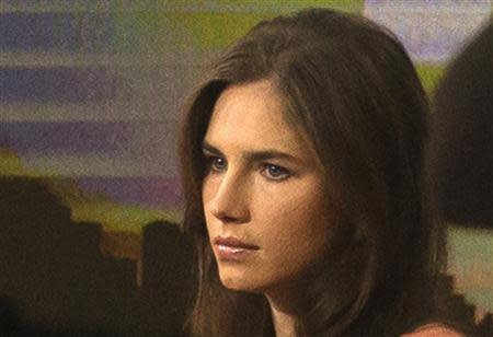 """Amanda Knox looks on before speaking on NBC News' """"Today"""" show in New York"""