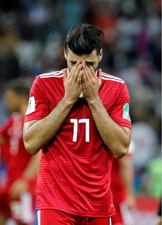 Soccer Football - World Cup - Group B - Iran vs Spain - Kazan Arena, Kazan, Russia - June 20, 2018 Iran's Mehdi Taremi looks dejected after the match REUTERS/Toru Hanai TPX IMAGES OF THE DAY