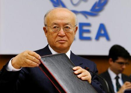 IAEA Director General Amano prepares for a board of governors meeting at the IAEA headquarters in Vienna