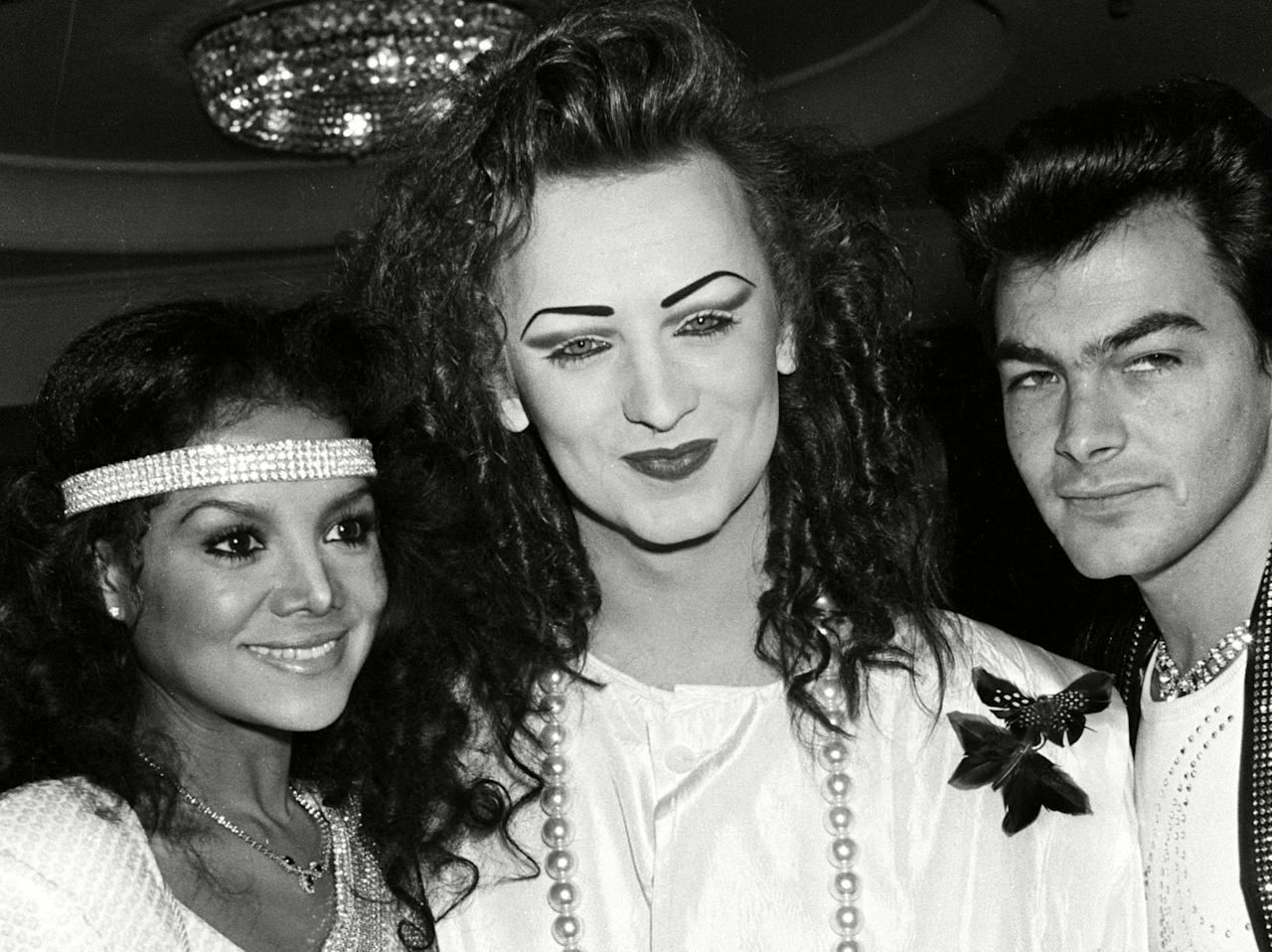 <p>Latoya Jackson, Boy George and Jon Moss of Culture Club back stage at the Brits. (Alan Davidson / Silverhub/REX/Shutterstock) </p>
