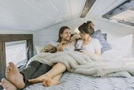 <p>The couple's quaint bedroom is only 4 feet high, which is <em>just</em> big enough to fit a king-size bed.</p>