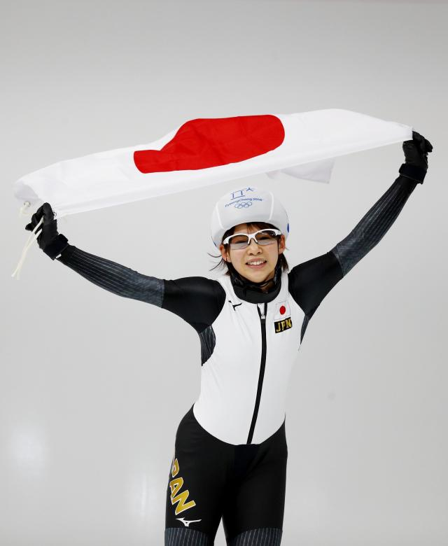 Speed Skating - Pyeongchang 2018 Winter Olympics - Women's Mass Start competition finals - Gangneung Oval - Gangneung, South Korea - February 24, 2018 - Nana Takagi of Japan celebrates after winning the race. REUTERS/Phil Noble